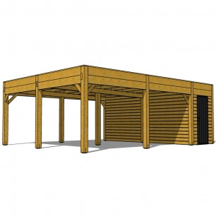 CARPORT EPURE DOUBLE AVEC CELLIER